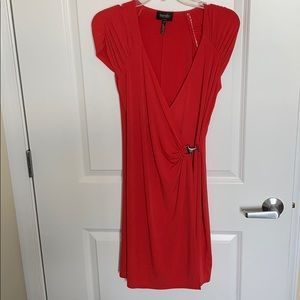 Red fitted ruched dress